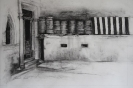 Barrels and sandbags 36x52cm charcoal on paper