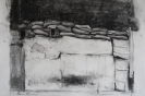 Barrels and sandbags ii 40 x 45 cm, charcoal on paper