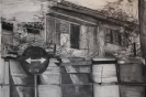 Barrels and sandbags series, 150 x180 cm, charcoal on paper